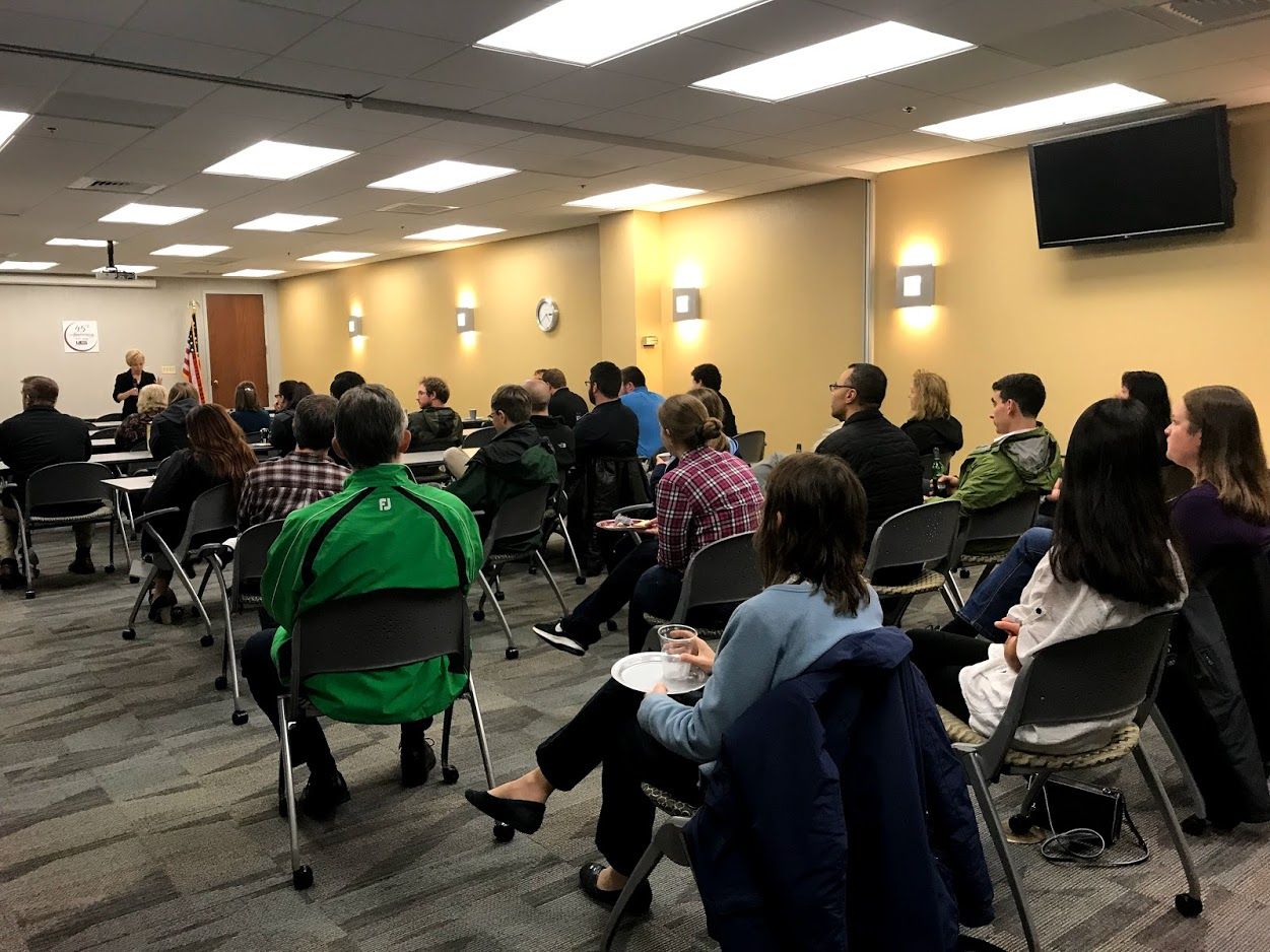 Dr. Stephaney Shanks, director of the Integrative Health & Performance Sciences division, address the team as they celebrates their 1 year anniversary celebration on Thursday, November 1, 2018, at UES, Inc., in Dayton, Ohio