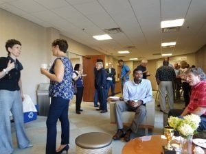 Ceramic scientists and engineers network during the social hour at the ACerS Dayton/Cincinnati/Northern Section Kentucky Kickoff Meeting