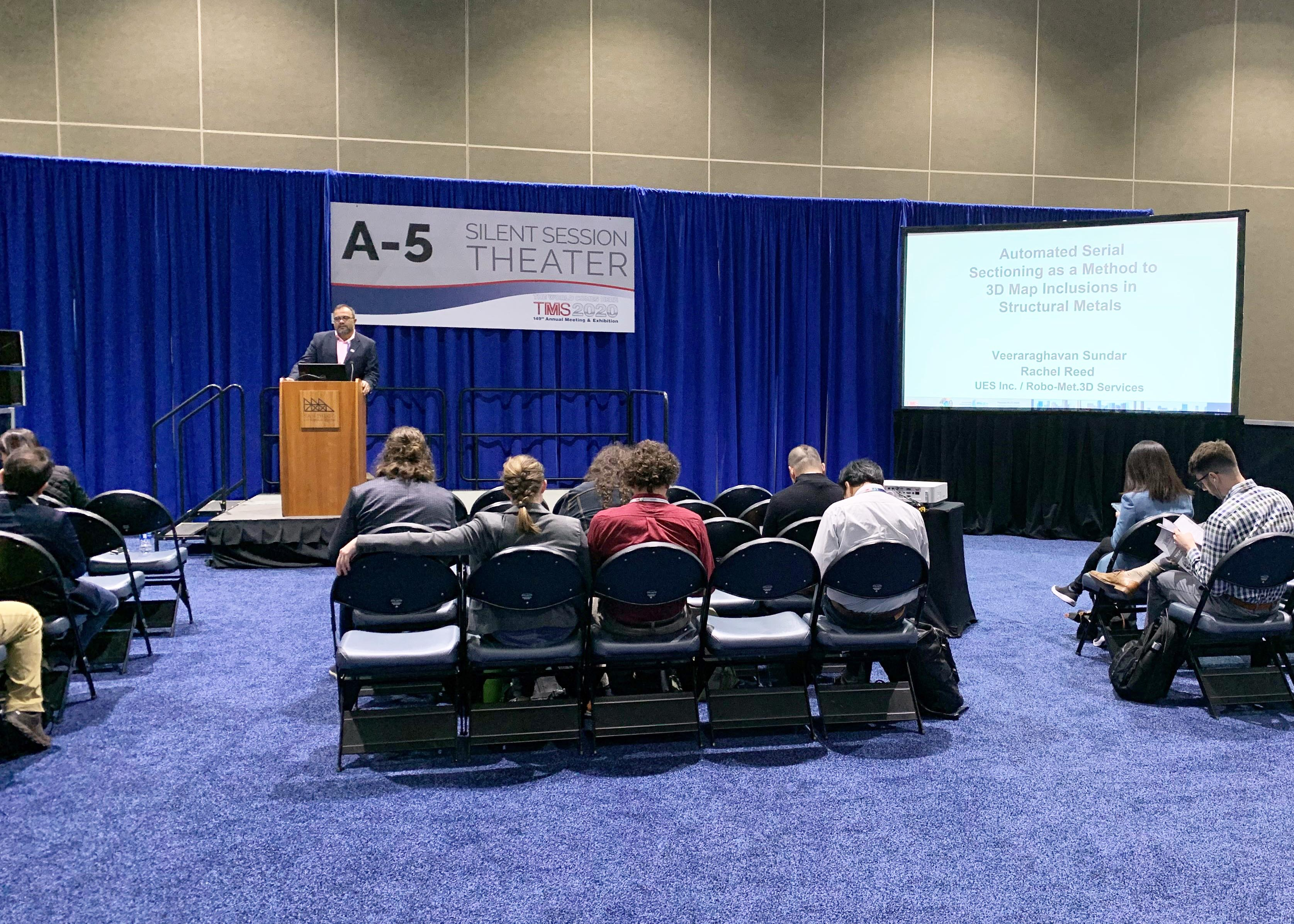 Dr. Sundar presents on Automated Serial Sectioning as a Method to 3D Map Inclusions in Structural Metalsat TMS 2020